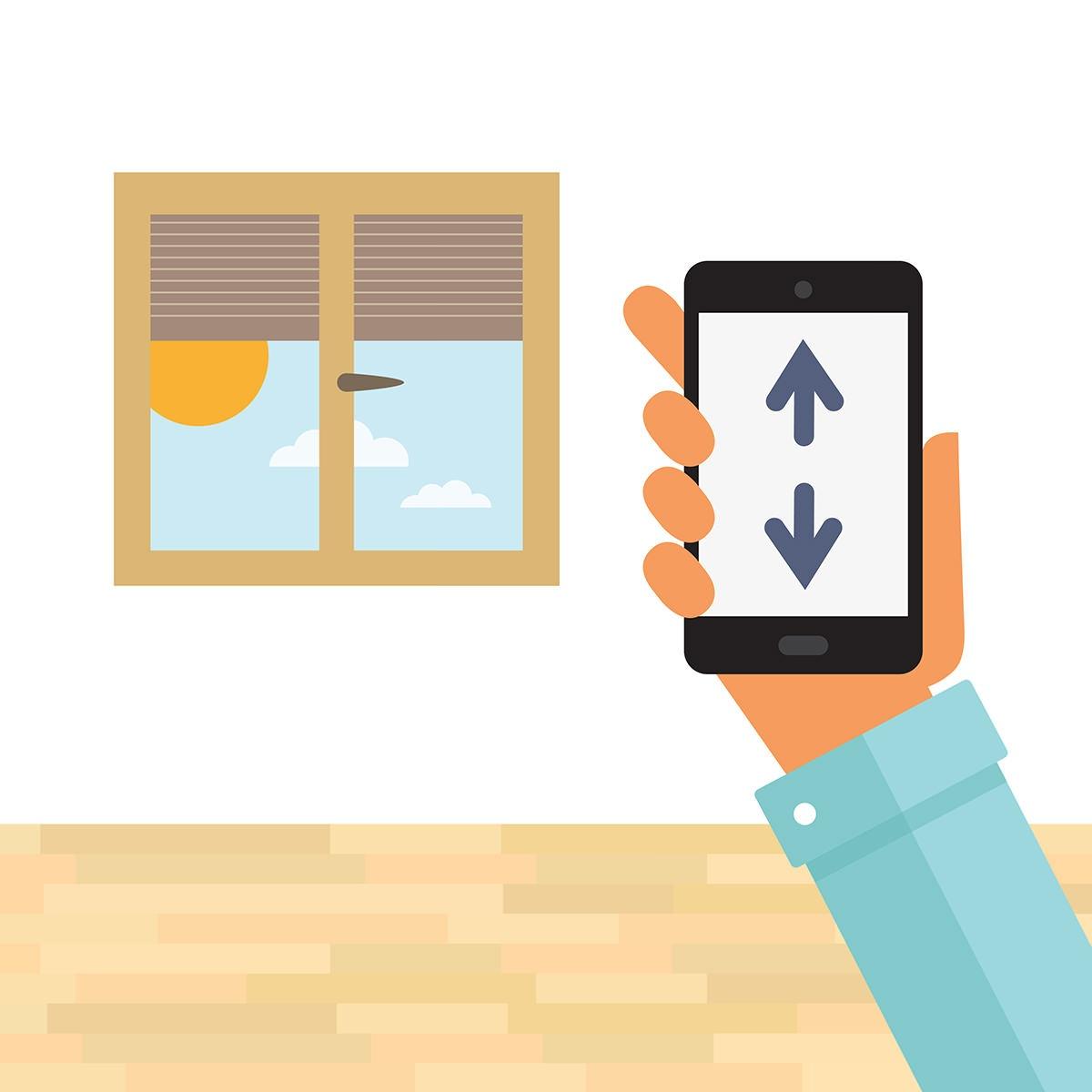 styr solskjermen screens med telefonen i en future living bolig