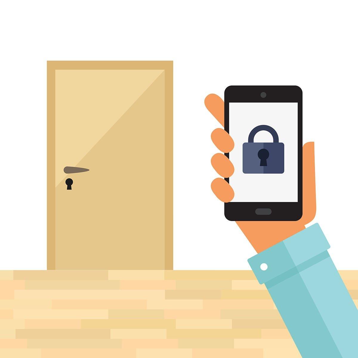 I en future living bolig kan man låse opp eller igjen døren med telefonen
