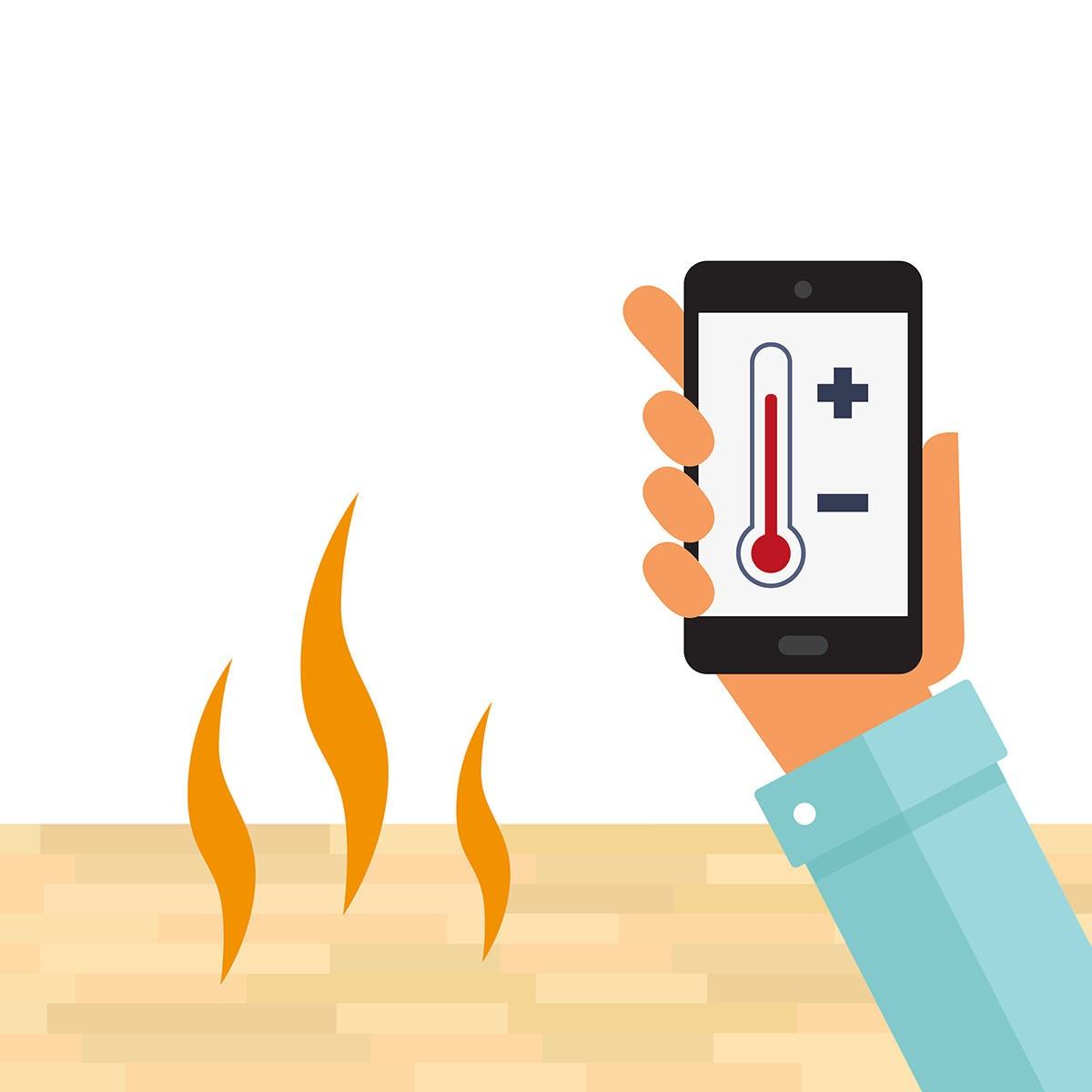 skru gulvvarmen opp eller ned med telefon eller nettbrett i en future living bolig