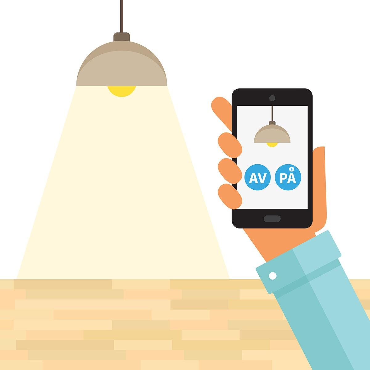 I en future living bolig kan man skru av aller på lyst med telefon