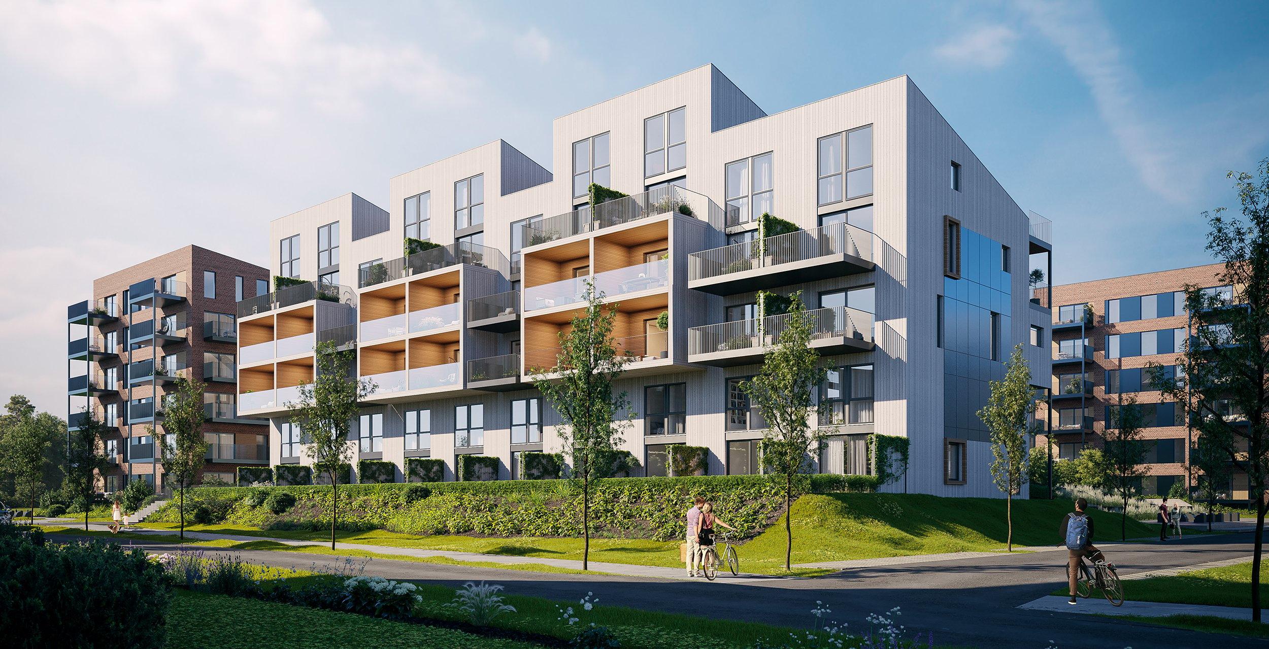 Verket Atrium - Bygg A - Hele vest fasaden_KUTT