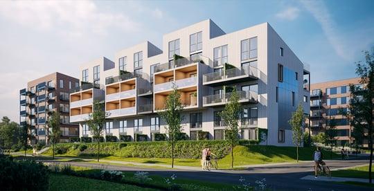Verket Atrium - Bygg A - Hele vest fasaden_tilfront