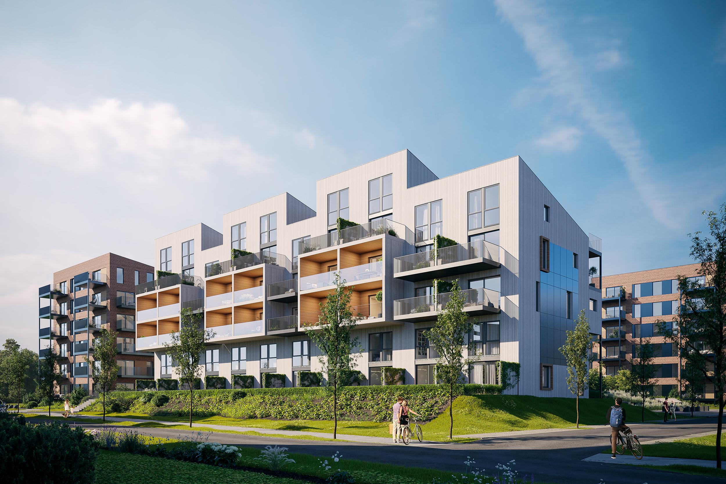 Verket Atrium - Bygg A - Hele vest fasaden