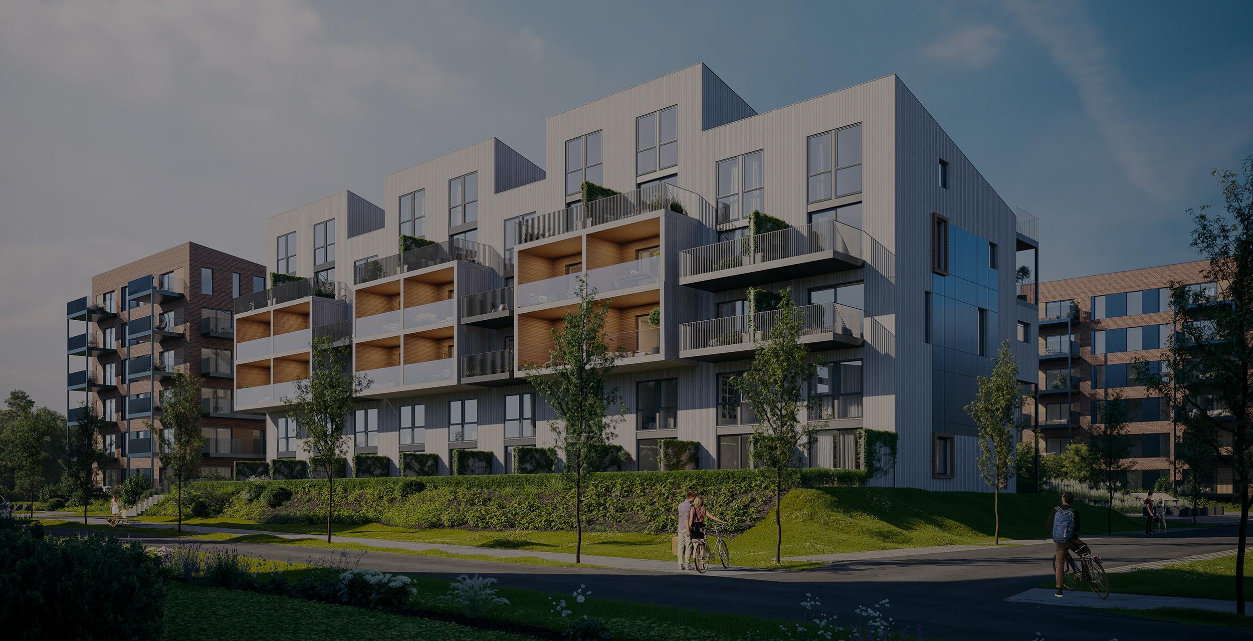 Verket Atrium - Bygg A - Hele vest fasaden_KUTT_dark